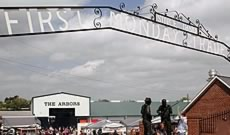 The entrance gate at First Monday Trade Days in Canton Texas near the Arbors and the sculpture