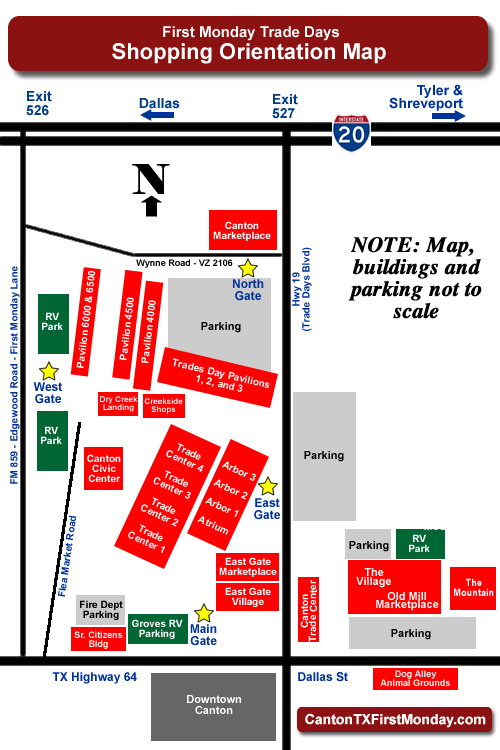 First Monday Trade Days, Canton, Texas, shopping orientation map